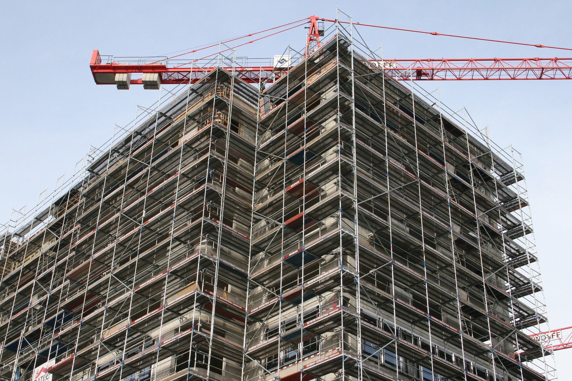 Scaffold in a building being constructed